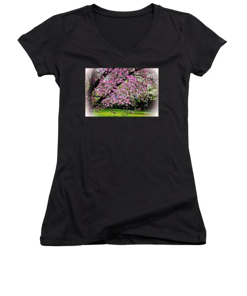 Cascading Dogwood Copyright Mary Lee Parker 17, Women's V-Neck T-Shirt (Junior Cut) by MaryLee Parker