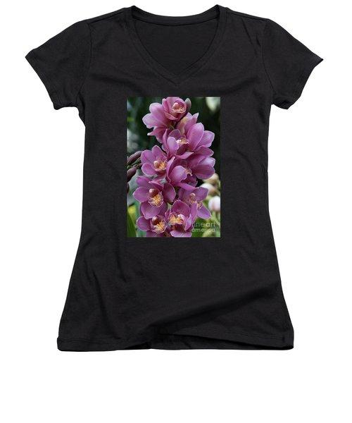 Cascading Orchids Women's V-Neck T-Shirt