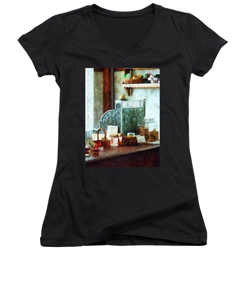 Women's V-Neck T-Shirt (Junior Cut) featuring the photograph Cash Register In General Store by Susan Savad
