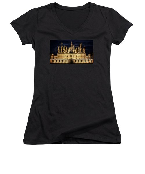 Women's V-Neck T-Shirt (Junior Cut) featuring the photograph Castle Chambord Illuminated by Heiko Koehrer-Wagner