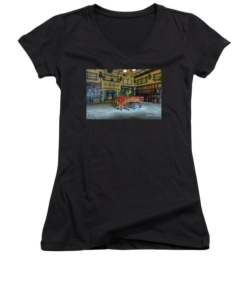 Women's V-Neck T-Shirt (Junior Cut) featuring the photograph Castle Dining Room by Ian Mitchell