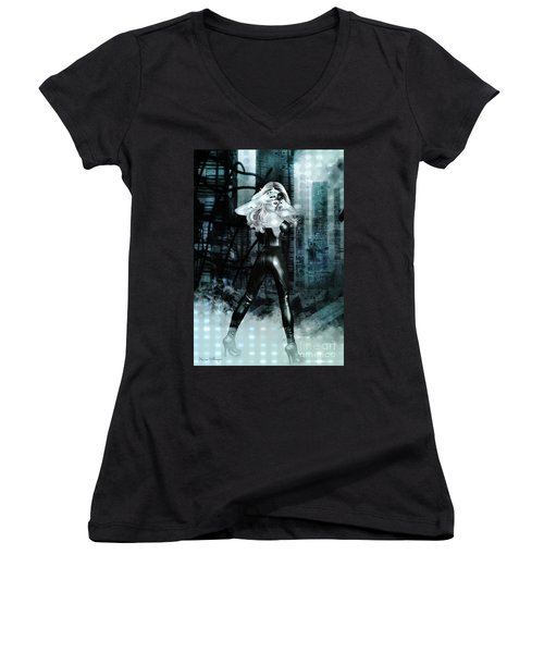 Cat Girl Comic Like Pinup Women's V-Neck T-Shirt