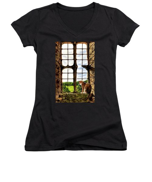 Cat In The Castle Window-close Up Women's V-Neck (Athletic Fit)