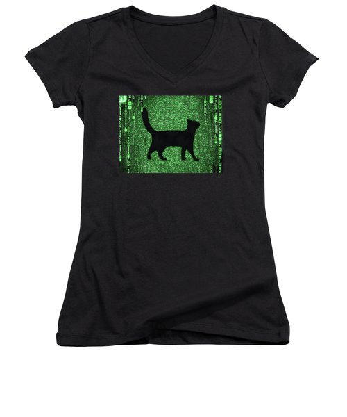 Women's V-Neck featuring the digital art Cat In The Matrix Black And Green by Matthias Hauser