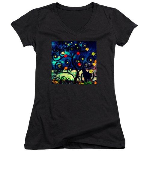 Cat Watch  Women's V-Neck T-Shirt (Junior Cut) by Kim Prowse