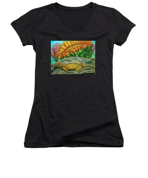 Catching Some Rays Women's V-Neck T-Shirt (Junior Cut) by Kim Jones