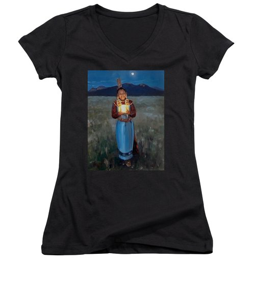 Catching The Moon Women's V-Neck (Athletic Fit)