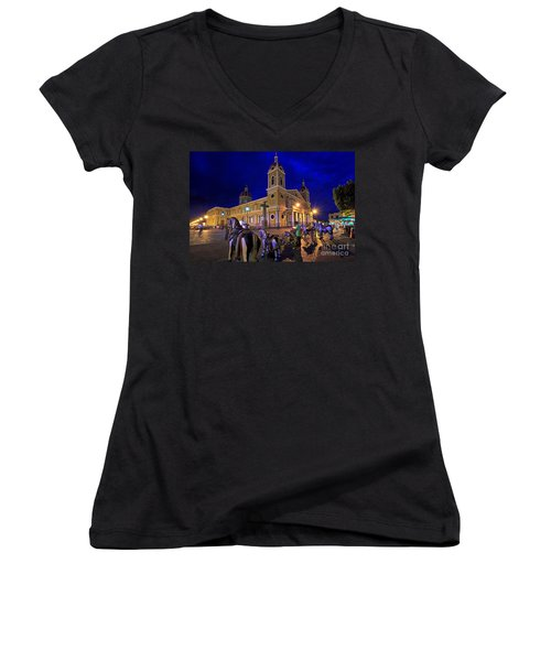 Cathedral Of Granada Shines Brightly Women's V-Neck