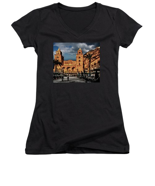 Cathedral  Women's V-Neck T-Shirt (Junior Cut) by Patrick Boening