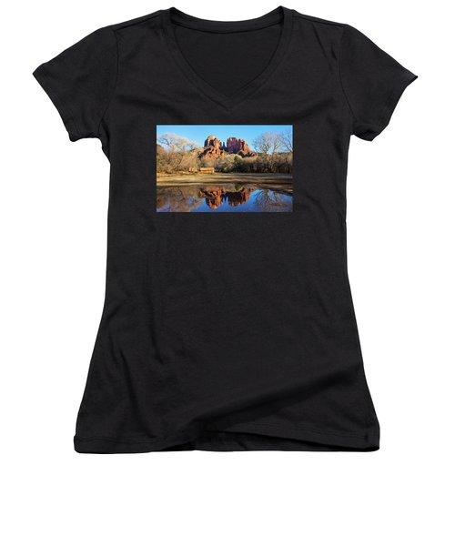 Cathedral Rock, Sedona Women's V-Neck T-Shirt (Junior Cut) by Barbara Manis