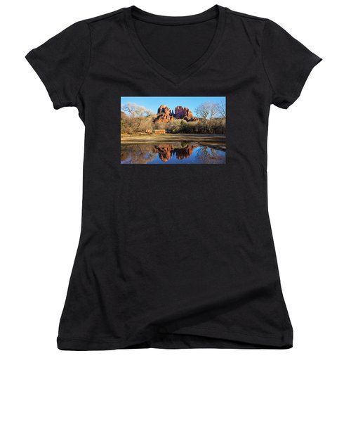 Cathedral Rock, Sedona Women's V-Neck (Athletic Fit)