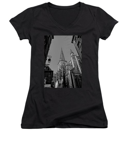 Women's V-Neck T-Shirt featuring the photograph Cathedrale St. Vincent  by Elf Evans