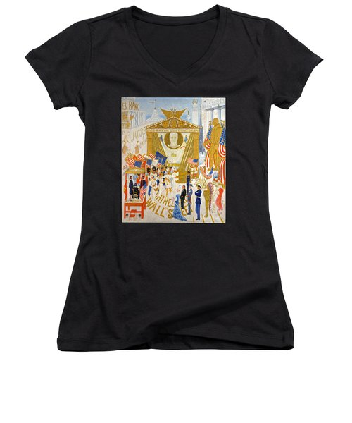 Women's V-Neck T-Shirt (Junior Cut) featuring the photograph The Cathedrals Of Wall Street - History Repeats Itself by John Stephens