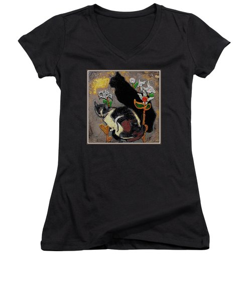 Women's V-Neck T-Shirt (Junior Cut) featuring the mixed media Cats by Pemaro