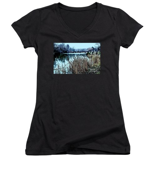 Cattails On The Water Women's V-Neck T-Shirt (Junior Cut) by Sandy Moulder