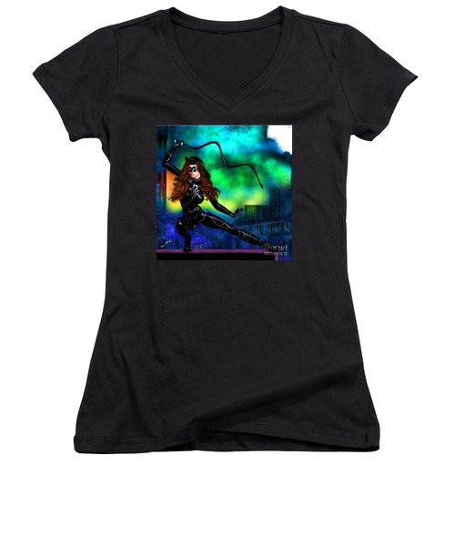 Catwoman Women's V-Neck (Athletic Fit)