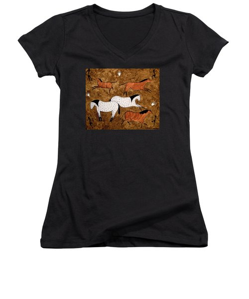 Cave Horses Women's V-Neck (Athletic Fit)