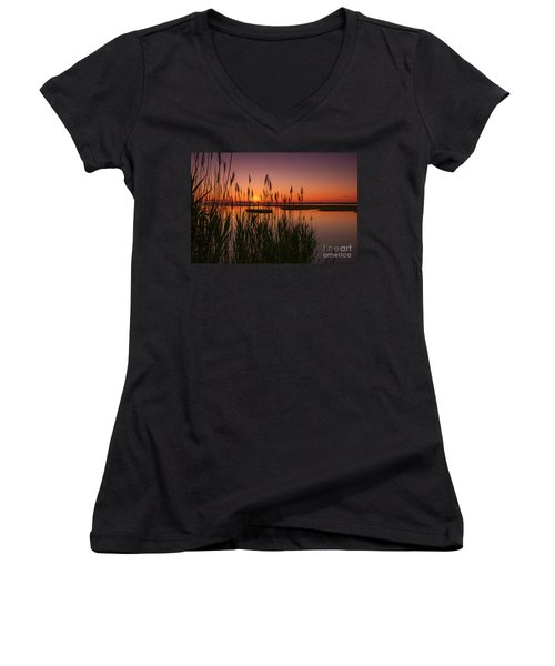 Cedar Beach Sunset In The Reeds Women's V-Neck