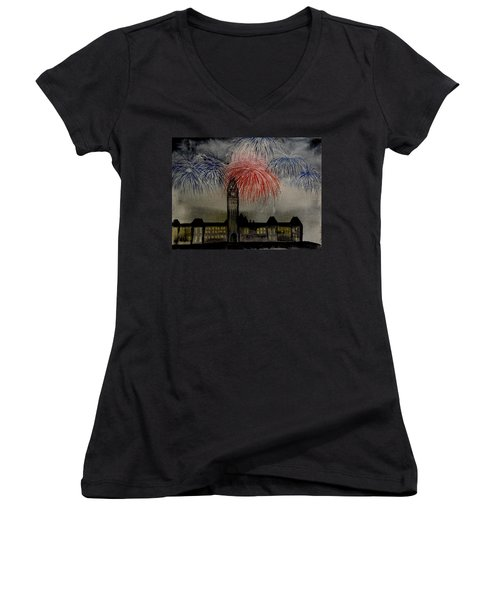 Celebrate Women's V-Neck T-Shirt (Junior Cut) by Betty-Anne McDonald