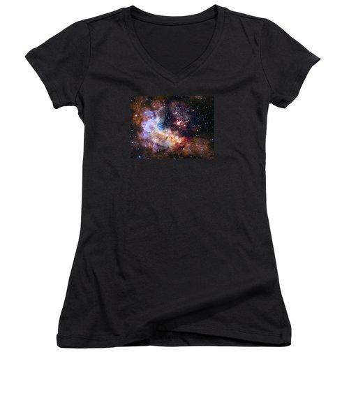 Celebrating Hubble's 25th Anniversary Women's V-Neck T-Shirt (Junior Cut) by Nasa