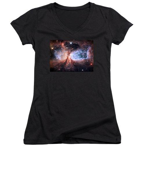 Women's V-Neck T-Shirt (Junior Cut) featuring the photograph Celestial Snow Angel - Enhanced - Sharpless 2-106 by Adam Romanowicz