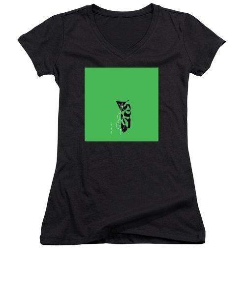 Cello In Green Women's V-Neck T-Shirt (Junior Cut) by David Bridburg