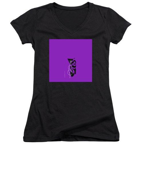 Cello In Purple Women's V-Neck T-Shirt (Junior Cut) by David Bridburg