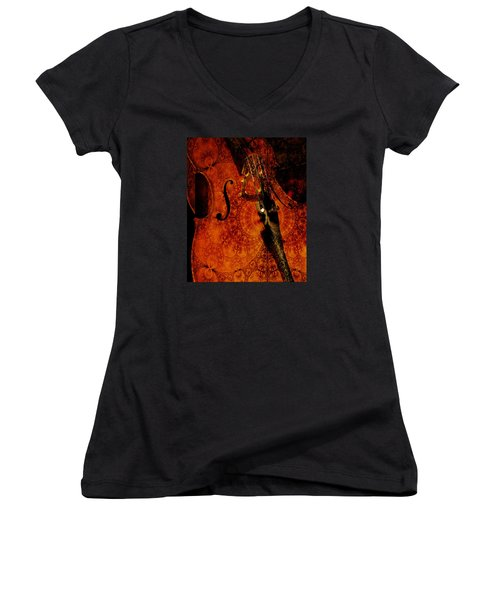 Cellos At Midnight Women's V-Neck T-Shirt (Junior Cut) by Michele Cornelius