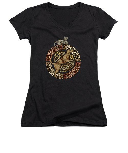 Celtic Cat And Dog Women's V-Neck T-Shirt (Junior Cut) by Kristen Fox