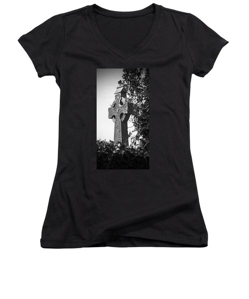 Celtic Cross At Fuerty Cemetery Roscommon Ireland Women's V-Neck