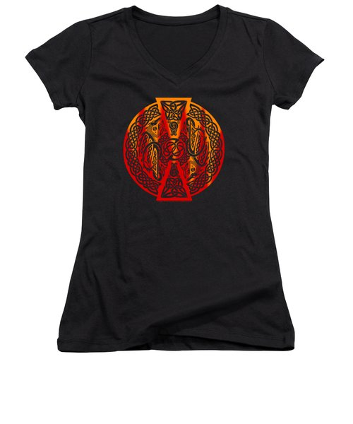 Women's V-Neck T-Shirt (Junior Cut) featuring the mixed media Celtic Dragons Fire by Kristen Fox