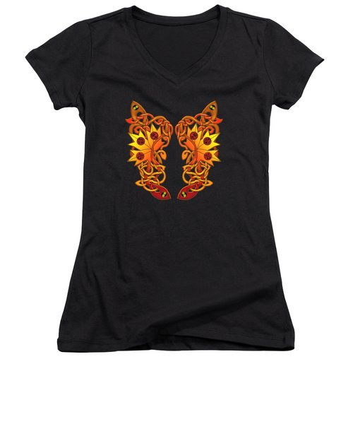 Women's V-Neck T-Shirt (Junior Cut) featuring the mixed media Celtic Loose Leaves by Kristen Fox