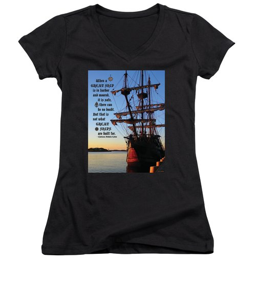 Celtic Tall Ship - El Galeon In Halifax Harbour At Sunrise Women's V-Neck (Athletic Fit)