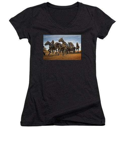 Centennial Statues Women's V-Neck T-Shirt (Junior Cut)