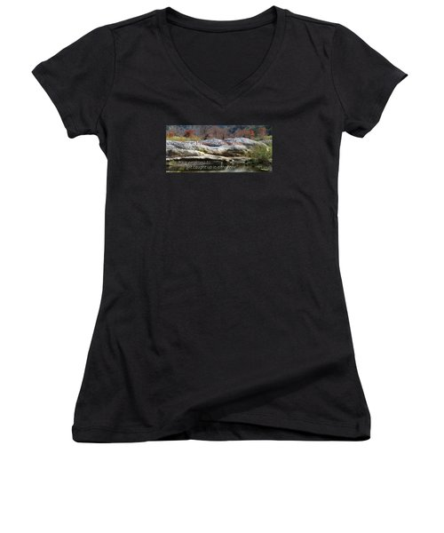 Centered In Humility Women's V-Neck T-Shirt (Junior Cut) by David Norman