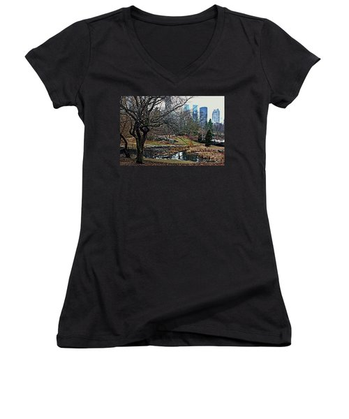 Central Park In January Women's V-Neck T-Shirt (Junior Cut) by Sandy Moulder