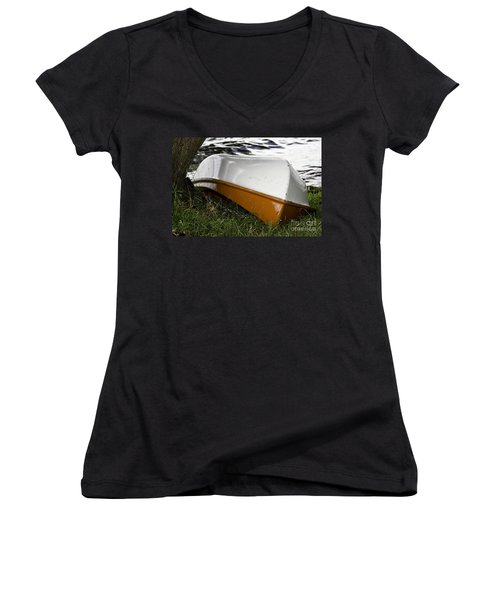 Women's V-Neck T-Shirt (Junior Cut) featuring the photograph Chained Little Boat Just Waiting by Yurix Sardinelly