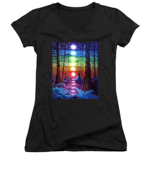 Chakra Meditation In The Redwoods Women's V-Neck T-Shirt (Junior Cut) by Laura Iverson