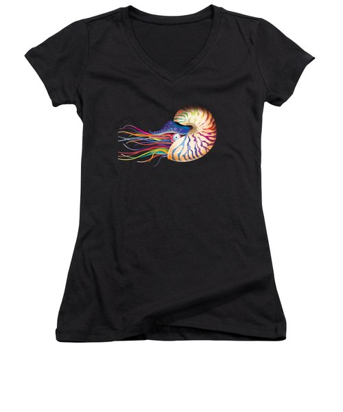 Chambered Nautilus On White Women's V-Neck (Athletic Fit)