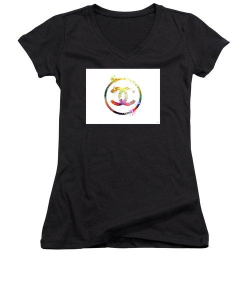 Chanel Logo Women's V-Neck T-Shirt