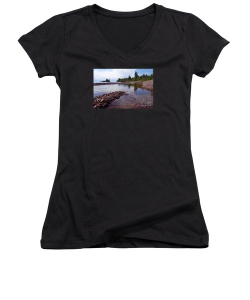 Women's V-Neck T-Shirt (Junior Cut) featuring the photograph Changing Channels by Sandra Updyke