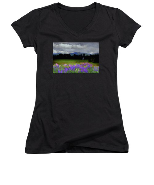 Chapel In The Lupine Mindscape Women's V-Neck T-Shirt