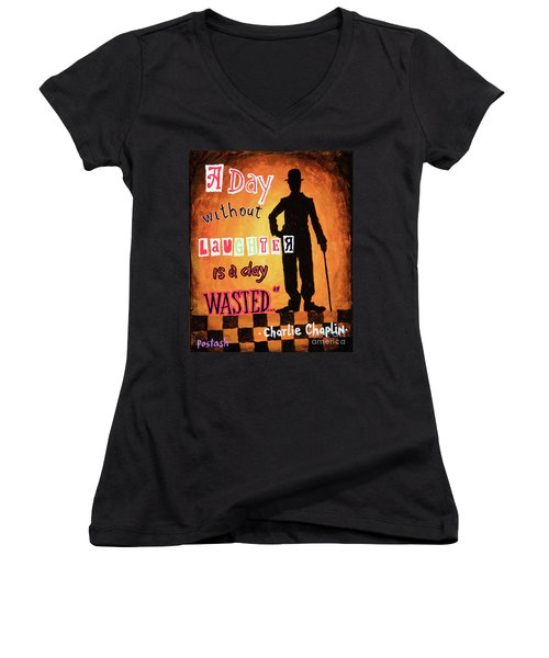 Women's V-Neck T-Shirt (Junior Cut) featuring the painting Chaplin by Igor Postash