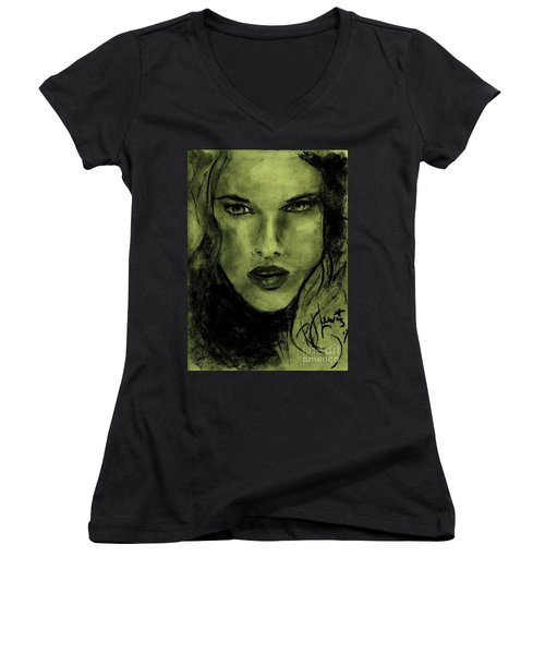 Women's V-Neck T-Shirt (Junior Cut) featuring the drawing char-Carol by P J Lewis