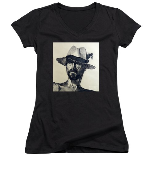Charcoal Portrait Of A Man Wearing A Summer Hat Women's V-Neck