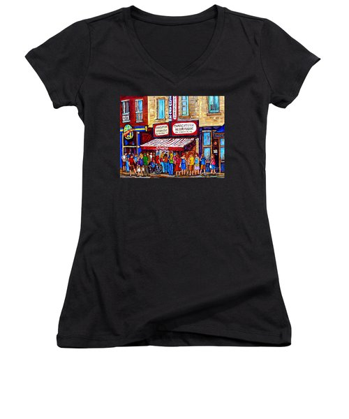 Charcuterie Hebraique Schwartz Line Up Waiting For Smoked Meat Montreal Paintings Carole Spandau     Women's V-Neck