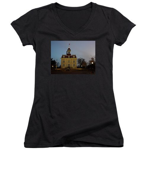Chase County Courthouse Women's V-Neck T-Shirt (Junior Cut) by Keith Stokes