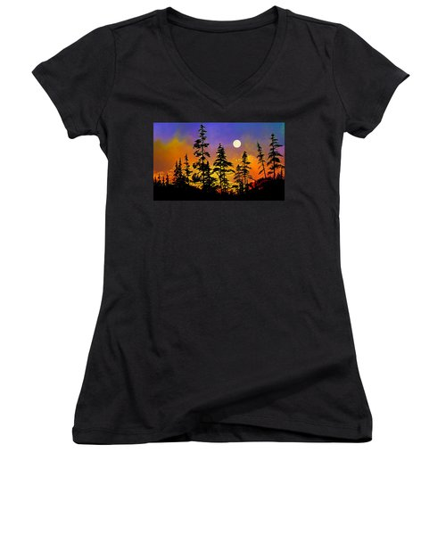 Women's V-Neck T-Shirt featuring the painting Chasing The Moon by Hanne Lore Koehler
