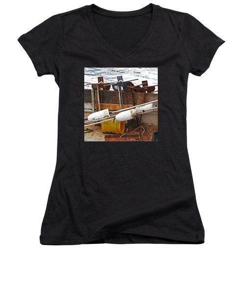 Chatham Fishing Women's V-Neck T-Shirt (Junior Cut) by Charles Harden