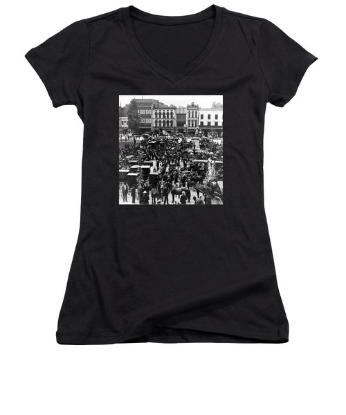 Cheapside Public Square In Lexington - Kentucky - April 7  1920 Women's V-Neck T-Shirt